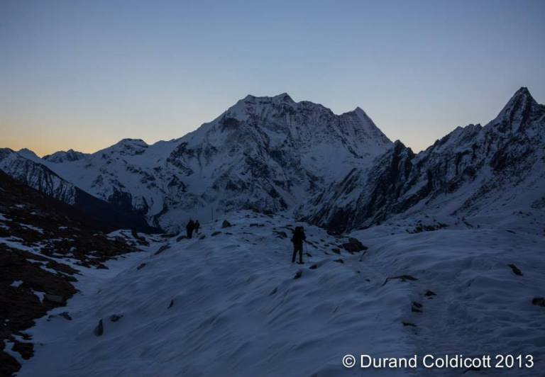 Sunrise on the hike to Larkya Pass